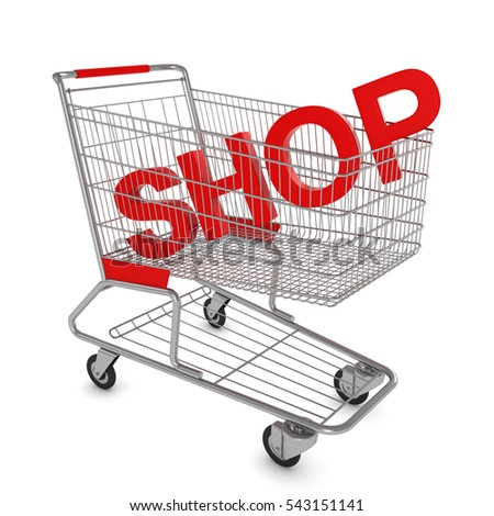 Shopping Cart with SHOP Text Isolated on White - 3D Illustration
