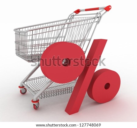 shopping cart with sign of percentage inwardly. 3d render isolated - stock photo