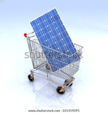shopping cart with solar panel inside, renewable energy commerce concept - stock photo