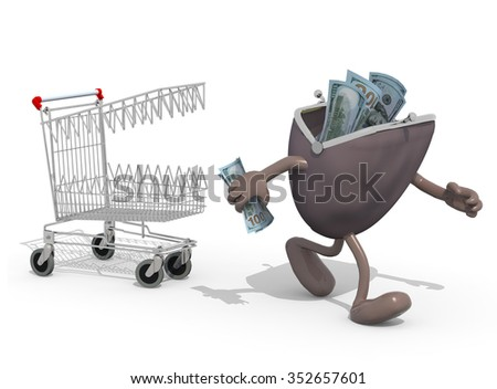 shopping cart with teeth follow purse with arms and legs that run away
