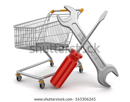 Shopping Cart with Tools  (clipping path included) - stock photo