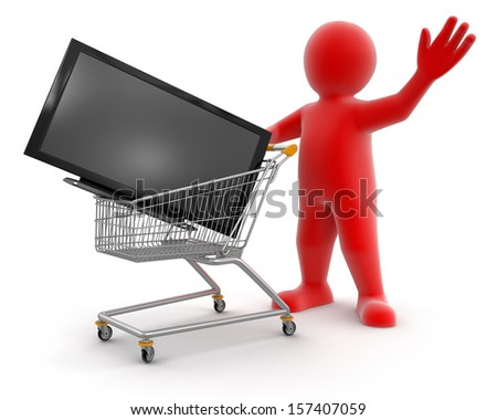 Shopping Cart with TV and Man (clipping path included) - stock photo