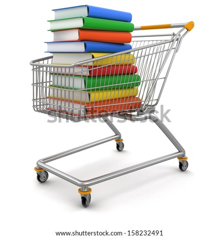 Shopping Carts and Stack of Books (clipping path included) - stock photo