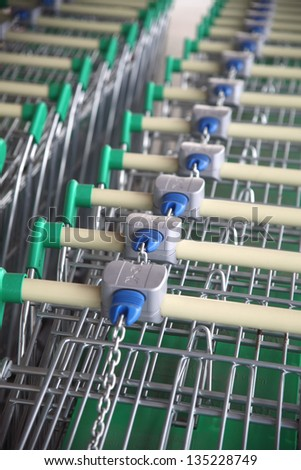 Shopping carts in the mall. - stock photo