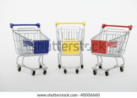 Shopping carts isolated on white background - stock photo