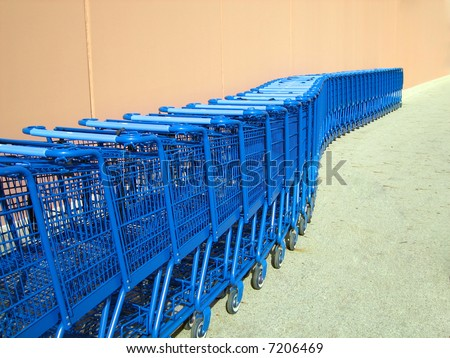 Shopping Carts lined up outside a supermarket in Ohio - stock photo