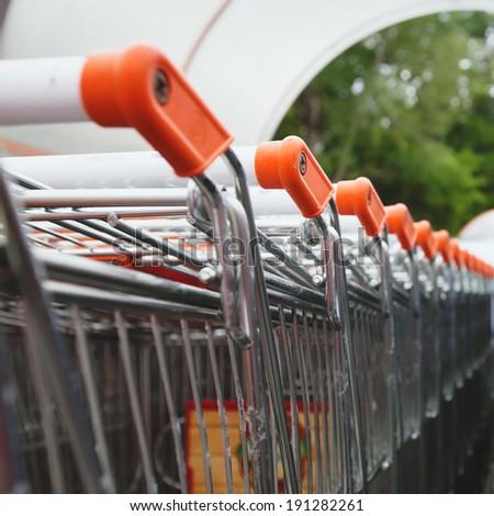 shopping carts near supermarket - stock photo