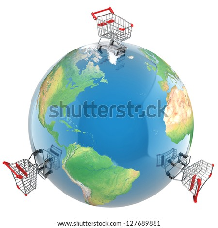 Shopping carts over the globe, global market concept - stock photo