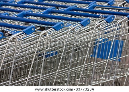 shopping carts stacked up