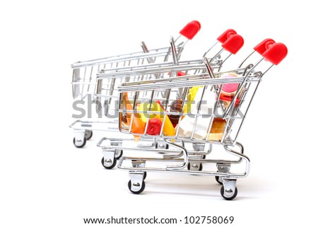 Shopping Carts with Food on white background