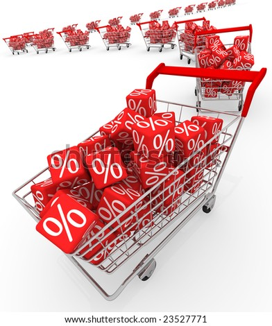 Shopping carts with red cubes - stock photo