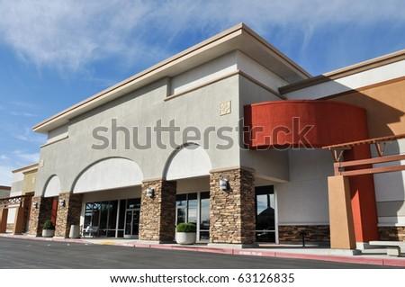 Shopping Center Strip Mall - stock photo
