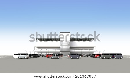 Shopping center with a large parking lot - stock photo