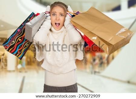 Shopping, Christmas, Shopping Mall. - stock photo