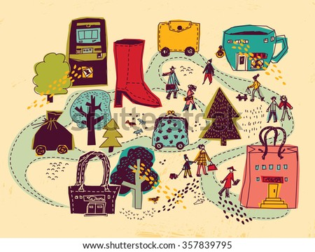 Shopping city people and objects color scene. People on the street and shops. Color illustration.  - stock photo