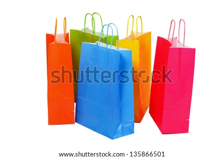 shopping colored bags isolated on white background
