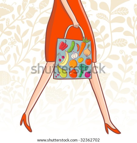 Shopping concept. Buying fresh fruits and vegetables - stock photo
