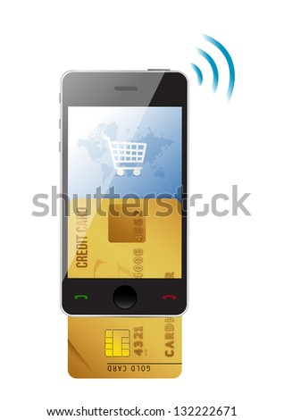 Shopping concept. Credit Card and modern mobile phone on a white background - stock photo