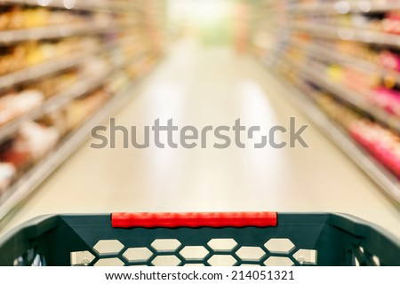 Shopping concept in supermarket for fast consumer lifestyle - stock photo