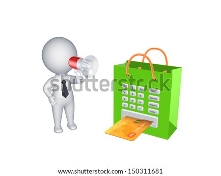 Shopping concept.Isolated on white.3d rendered. - stock photo