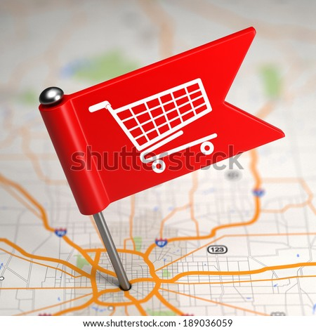 Shopping Concept - Small Flag on a Map Background with Selective Focus. - stock photo