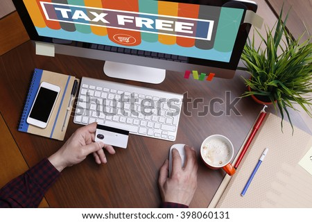 Shopping Concept TAX FREE text on screen - stock photo