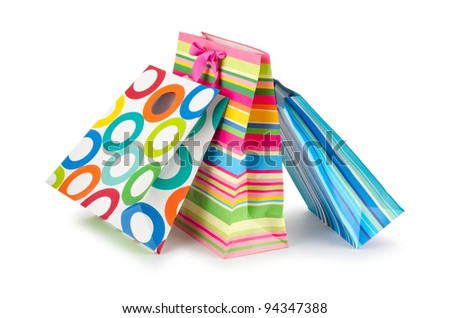 Shopping concept with bag on white - stock photo