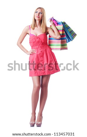 Shopping concept with woman on white