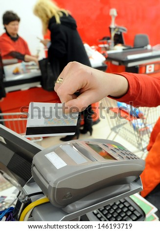 shopping credit card - stock photo