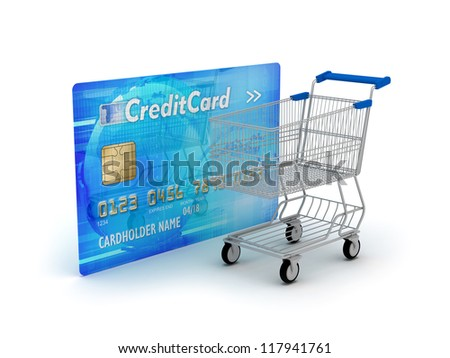 Shopping - credit card and shopping cart on white background