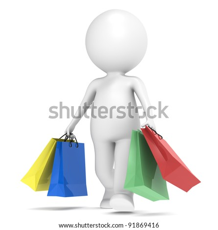 Shopping. 3D little human character Shopping. Shopping bags X 4 colors. People series. - stock photo