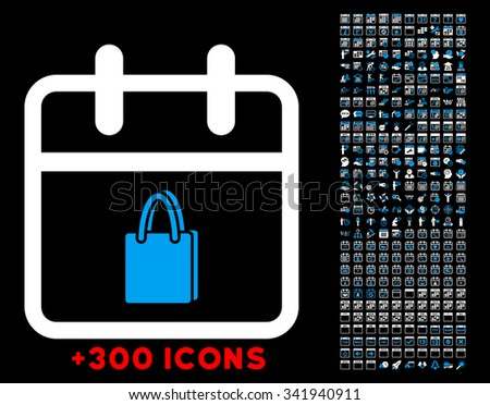 Shopping Date glyph icon with additional 300 date and time management pictograms. Style is bicolor flat symbols, blue and white colors, rounded angles, black background. - stock photo