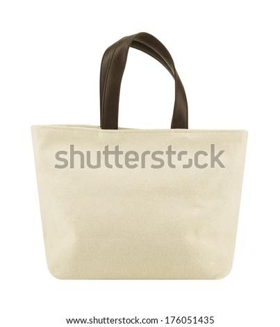 Shopping eco bag isolated on a white background - stock photo