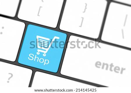 shopping enter button key on white keyboard - stock photo