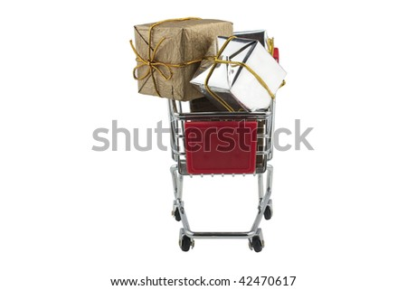 SHOPPING FOR GIFTS IN A SUPERMARKET TROLLEY - stock photo