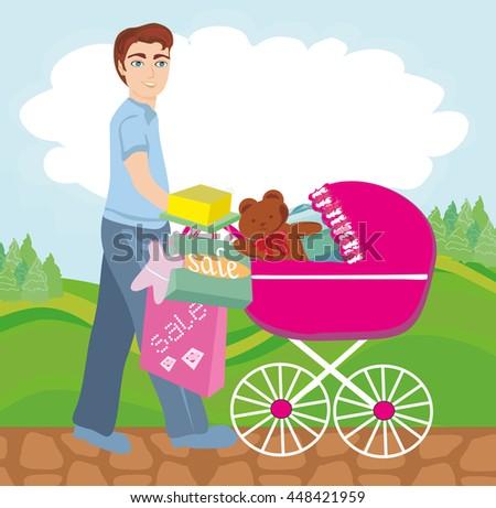 shopping for newborn - stock photo