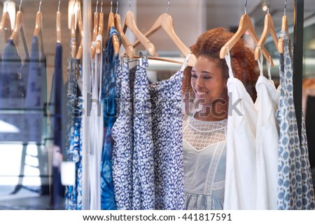 Shopping for style at the mall - stock photo