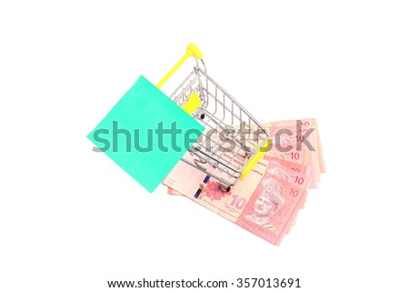 Shopping for the Best Deal! Shopping cart filled with Malaysian currency. Concept of shopping for the best deal before buying. - stock photo