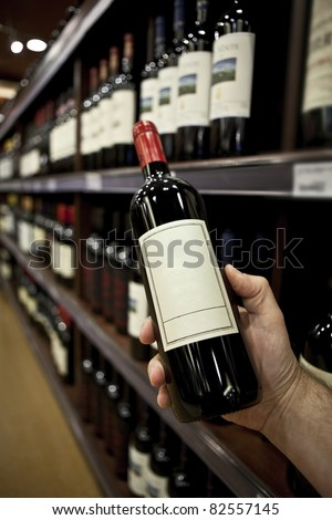 Shopping for wine vertical (Horizontal version also available in my portfolio) - stock photo