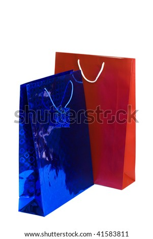 shopping gift bags isolated on white background - stock photo
