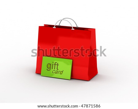 Shopping. Gift card and shopping bag isolated on white background. High quality 3d render. - stock photo