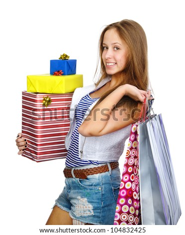 shopping girl holding many shopping bags and box. isolated on white background