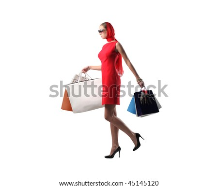 shopping girl isolated - stock photo