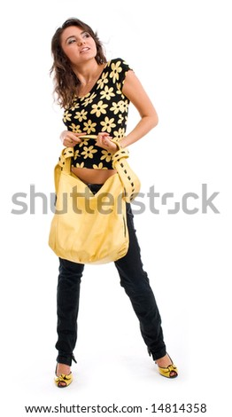 Shopping girl isolated on white background