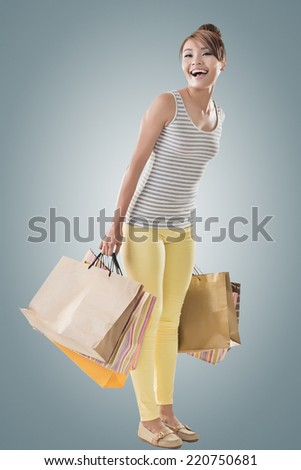 Shopping girl of Asian, full length portrait isolated on white with clipping path. - stock photo