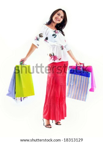 Shopping girl whit diverse bags,isolated on white background
