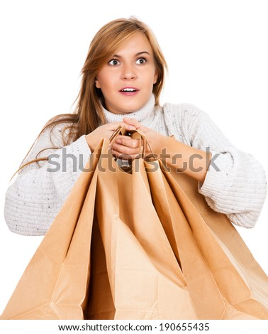 shopping girl with paper bags, white background