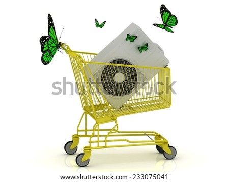Shopping gold trolley, street conditioner and green butterflyes Isolated on a white background - stock photo