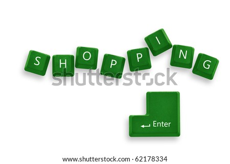 Shopping green button keyboard  isolate - internet concept - stock photo