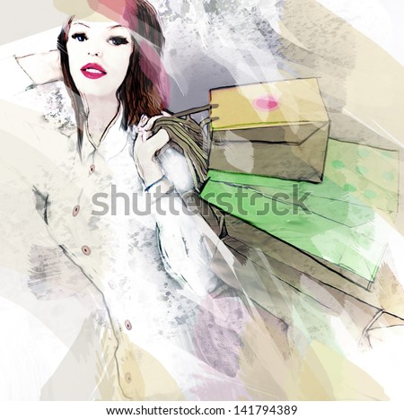 Shopping. Hand painted illustration. - stock photo